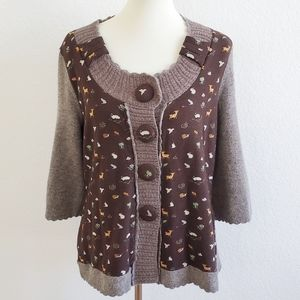 Sleeping on Snow NWT Animals Brown Sweater Top XL
